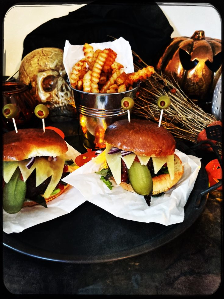 halloween burgers with monster faces and googly eyes