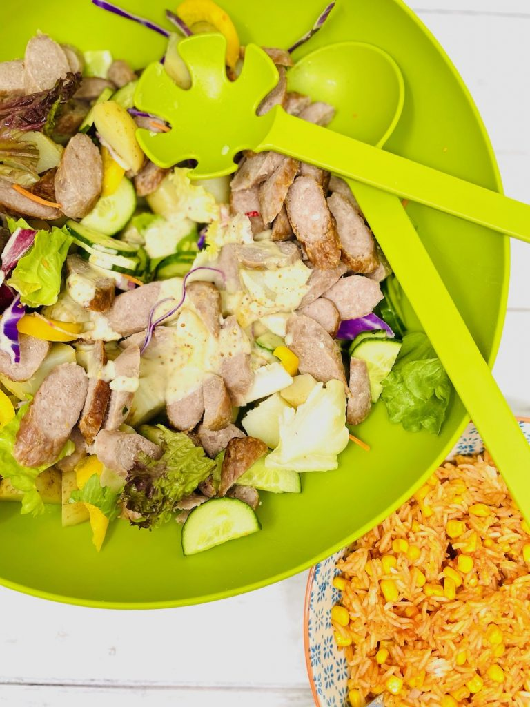 sausage salad with honey and mustard dressing