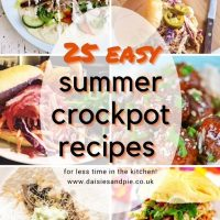 six images of easy summer crockpot recipes - chicken shawarma, BBQ chicken sandwiches, Pulled ham in rolls, carnitas and pulled pork in a bun. Text overlay reads