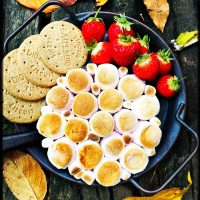 s'mores dip - sweet dip platter with digestives and strawberries