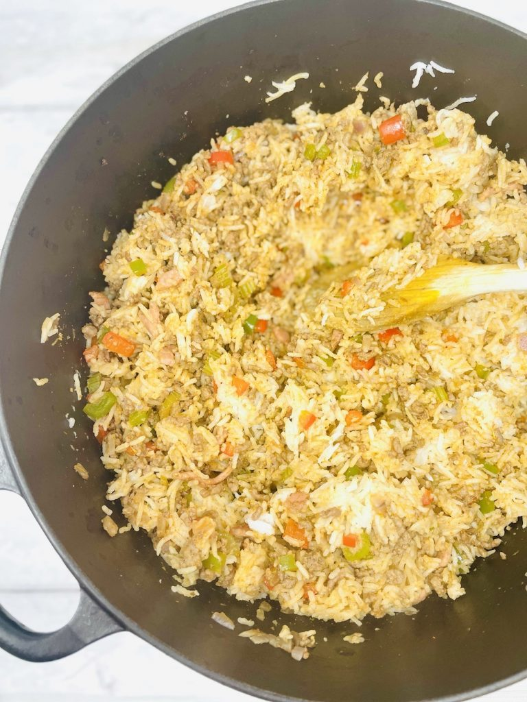 dirty rice mixed together in a large saucepan