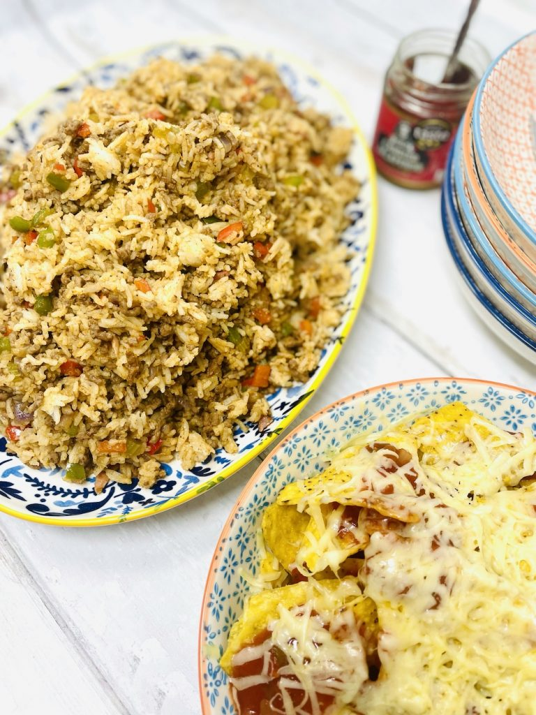 dirty rice served with side of cheesy nachos