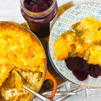 keema pie served with pickled beetroot