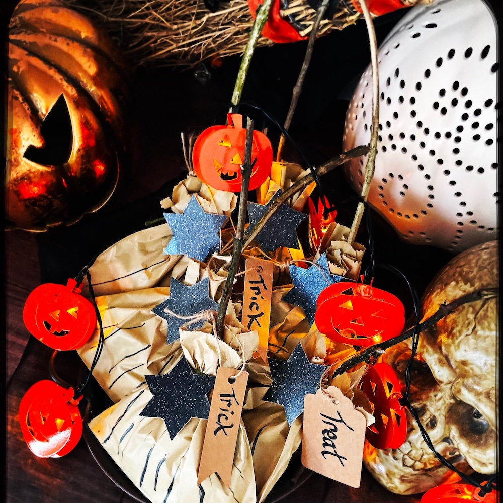 Halloween party bags - homemade Halloween sweets bags in shape of witches broom - made with brown paper bag and twigs